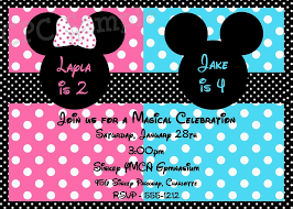 free printable mickey and minnie twin birthday invitations