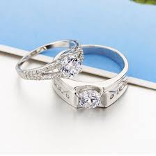 his and hers wedding band sets fashion his hers matching cz sterling silver rings