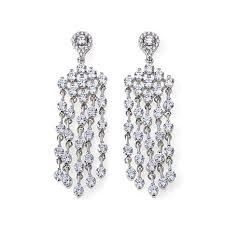 silver chandelier earrings absolute 8 24ctw cubic zirconia sterling silver