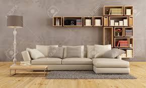 Wohnzimmer Sofa Wohnzimmer Mit Eleganten Sofa Und Wand Bücherregal Rendering