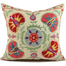 suzani cushions beige 20x20 red colored uzbek suzani pillow cover