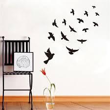 Poster Wallpaper For Bedrooms Aliexpress Com Buy Dctop Diy Black Flying Birds Vinyl Wall