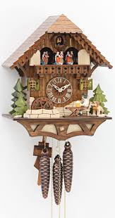 8 Day Cuckoo Clock Cuckoo Clock Black Forest House With Moving Beer Drinker And Mill