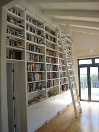 Bookcases With Ladder by Modern Library Decor With White Stained Wooden Bookcase With White