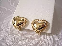 gold clip on earrings monet beaded heart clip on earrings gold tone vintage smooth
