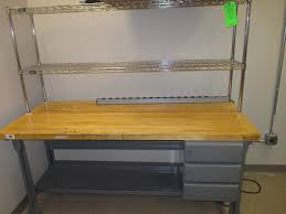 equipto butcher block work bench w nexel metro rack mount
