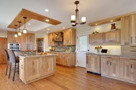 Wooden Kitchen Cabinet by Kitchen With Quartz Countertops And Red Birch Cabinets Kitchen