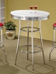 Retro Bar Table 30 White Retro Chrome Bar Table Retro Dining Furniture