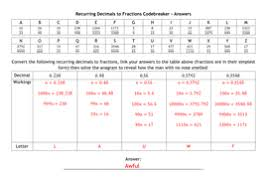 recurring decimals to fractions codebreaker by alutwyche