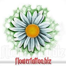daisy tattoo design with yellow centre