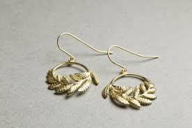 catherine zoraida earrings felt catherine zoraida leaf gold plated silver hook earrings