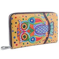leather women s wallet pattern owl pattern large genuine leather zipper women s wallet classyds