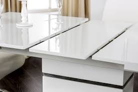 Dining Table With Extension Glaze White Lacquer Dining Table