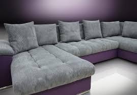Purple Corner Sofas Left Hand Facing Corner Group Sofa Bed Cord Fabric Grey Purple Twill