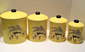 vtg retro kitchen canister set 4 flour sugar coffee tea yellow vtg retro kitchen canister set 4 flour sugar coffee tea yellow black knob metal
