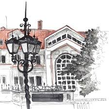 urban sketch city street with buildings street lamps and trees