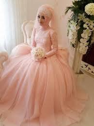 Pink Wedding Dresses With Sleeves Elegant Tulle Long Sleeve Muslim Light Pink Wedding Dresses 2015