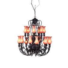 Cabin Light Fixtures by Hampton Bay 15 Light Tuscan Copper Hanging Chandelier Y35048 163