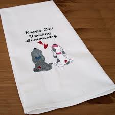 2nd wedding anniversary gifts for wedding anniversary gift puppy tea towel personalised