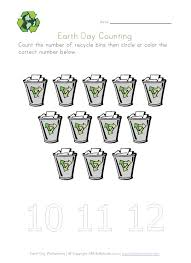 earth day recycling counting printable preschool earth day