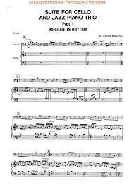 sheet music claude bolling suite for cello and jazz piano trio