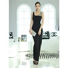 cross shoulder ladies long dinner dress black red 5 7