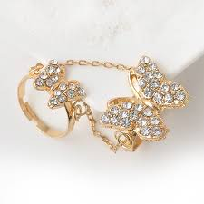 chain rings gold images Women butterfly rhinestone setting chain rings gold tassels ring jpg
