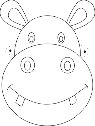 hippo mask printable coloring page for kids in cat coloring page
