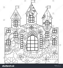 silhouette stencil template castle coloring rasterized stock