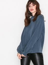 selected femme sftea ls highneck sweat selected femme blue tops