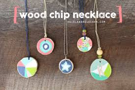wood chip necklace a and a glue gun