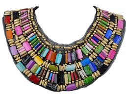 statement necklace store images Black tribal large u shaped draped multicolour rainbow beads JPG