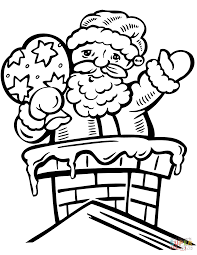 santa in the chimney coloring page free printable coloring pages