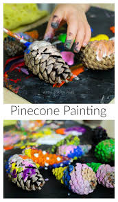 pinecone painting kids nature art project arty crafty kids