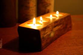 rustic wood tea light candle holder 4 tealight holder