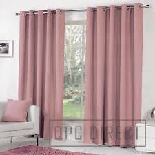 Blush Pink Curtains Pair Of Plain Dyed 100 Cotton Eyelet Ring Top Lined Curtains