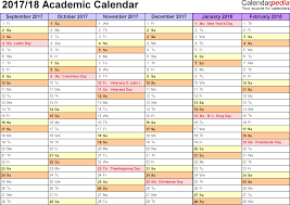 Academic calendars 2017 2018 as free printable Word templates
