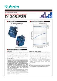 d1305 e3b kubota engine pdf catalogue technical