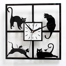 lovely black cat wall clock square creative design home decor