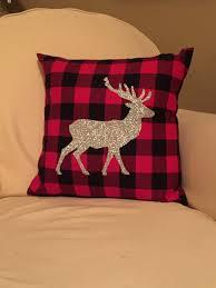 plaid deer throw pillow cover glitter deer pillow cover