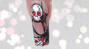 halloween nails 3d platinum skull u0026 spider web design tutorial by
