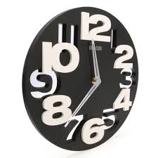 rounds wall clock modern design 3d big digit modern contemporary