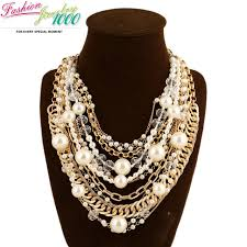 chunky pearl statement necklace images Multi layer gold chain pearl statement necklace fashion big chunky jpg