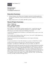 sample resume for dot net developer experience 2 years resume executive summary sample free resume example and writing resume summary example resume format download pdf executive summary resume example resume executive summary within executive