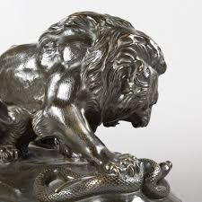 barye lion sculpture after alfred barye lion terrassant un serpent bronze expertissim