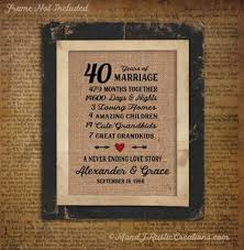 40 year anniversary gift wedding anniversary burlap prints m and j rustic creations