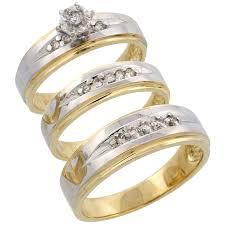 wedding trio sets 14k yellow gold diamond jewelry wedding engagement sets trio rings