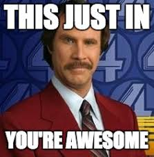 You Are Awesome Meme - ron burgundy imgflip