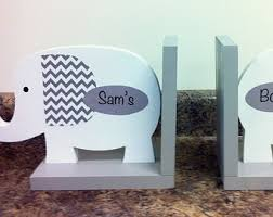 personalized bookends baby elephant bookends elephant nursery wooden elephant