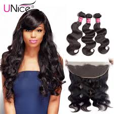 short hairstyles with closures unice 3 bundles body wave hair with lace frontal hair closure unice